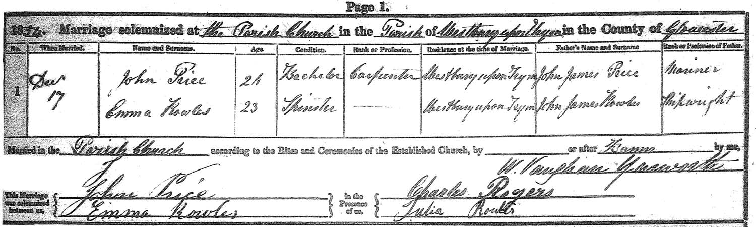 Marriage of Emma Rowles and John Price