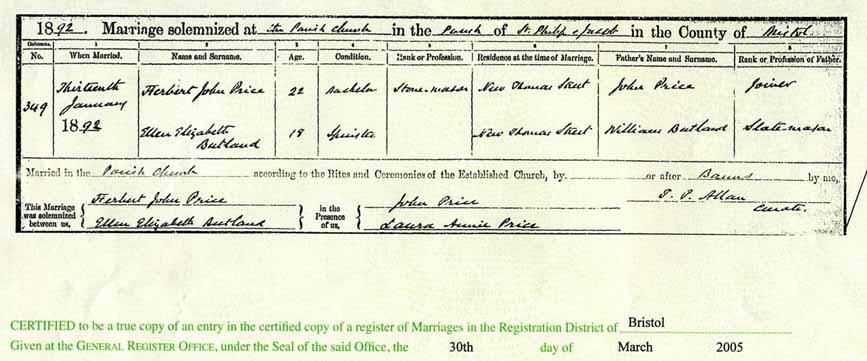 Marriage of Herbert John Price and Ellen Elizabeth Butland